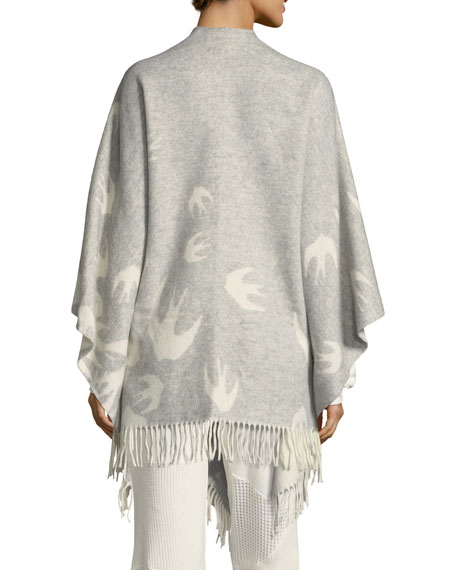 Swallow-Intarsia Wool Poncho