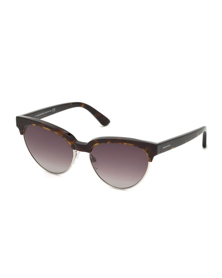 Balenciaga Tortoise Cat-Eye Semi-Rimless Sunglasses, Brown