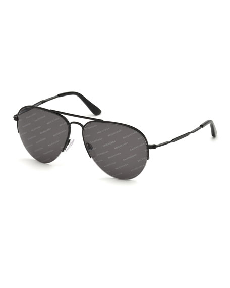 Logomania Metal Aviator Sunglasses