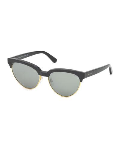 Cat-Eye Semi-Rimless Sunglasses, Black