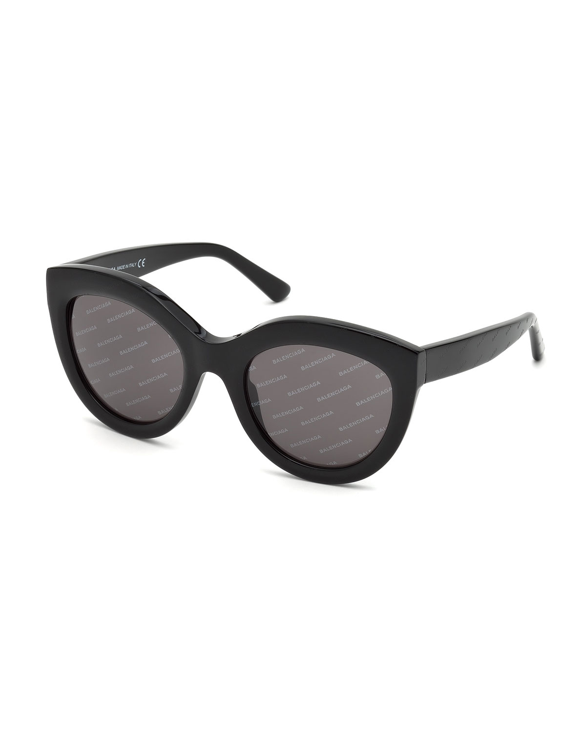 Logomania Shiny Acetate Cat Eye Sunglasses by Balenciaga