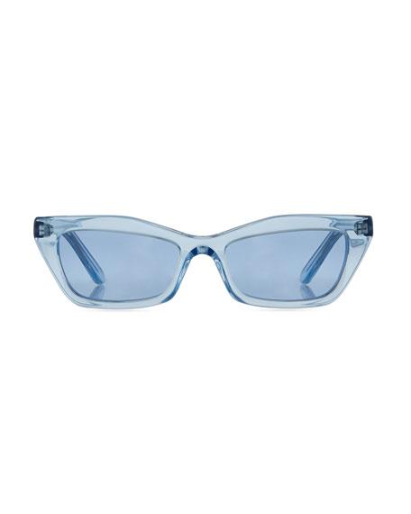 Runway Cat-Eye Shiny Sunglasses, Blue