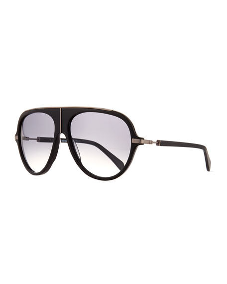 Balmain Acetate Aviator Sunglasses w/ Metal Accents, Black