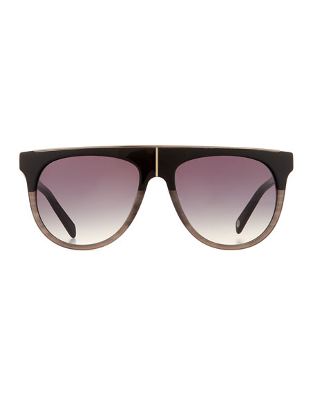 Flat-Top Two-Tone Acetate Aviator-Style Sunglasses, Black