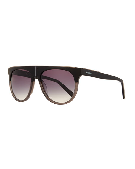 Balmain Flat-Top Two-Tone Acetate Aviator-Style Sunglasses, Black