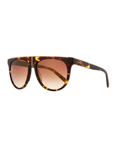 Balmain Flat-Top Two-Tone Acetate Aviator-Style Sunglasses