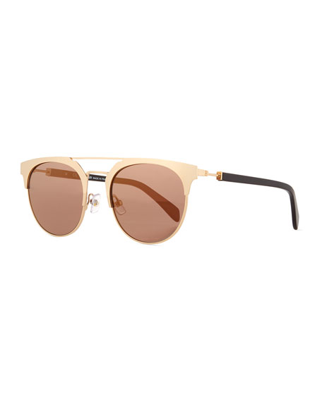 Balmain Round Semi-Rimless Mirrored Sunglasses