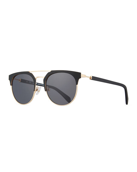 Balmain Metal and Acetate Round Sunglasses