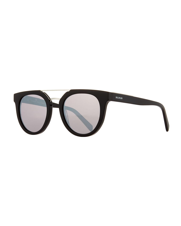985f18073a2 Balmain Round Mirrored Acetate Sunglasses w  Contrast Bridge ...