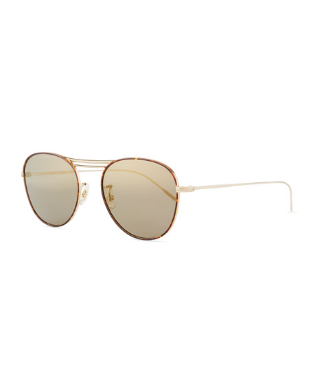 Oliver Peoples Cade Mirrored Aviator Sunglasses, Graphite/Gold