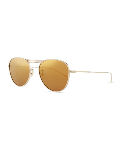 Oliver Peoples Cade Mirrored Butterfly Sunglasses, Auburn/Gold