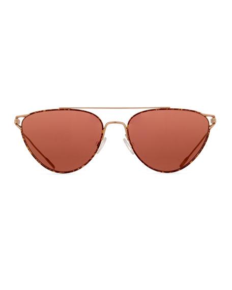 Floriana Cat-Eye Metal Sunglasses, Burgundy