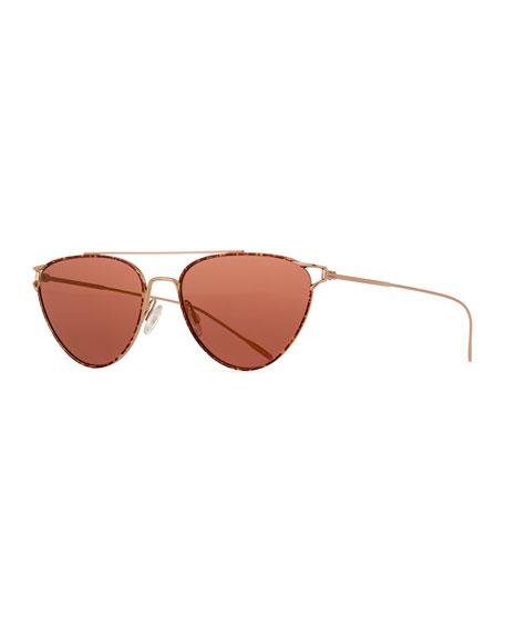 Oliver Peoples Floriana Cat-Eye Metal Sunglasses, Burgundy