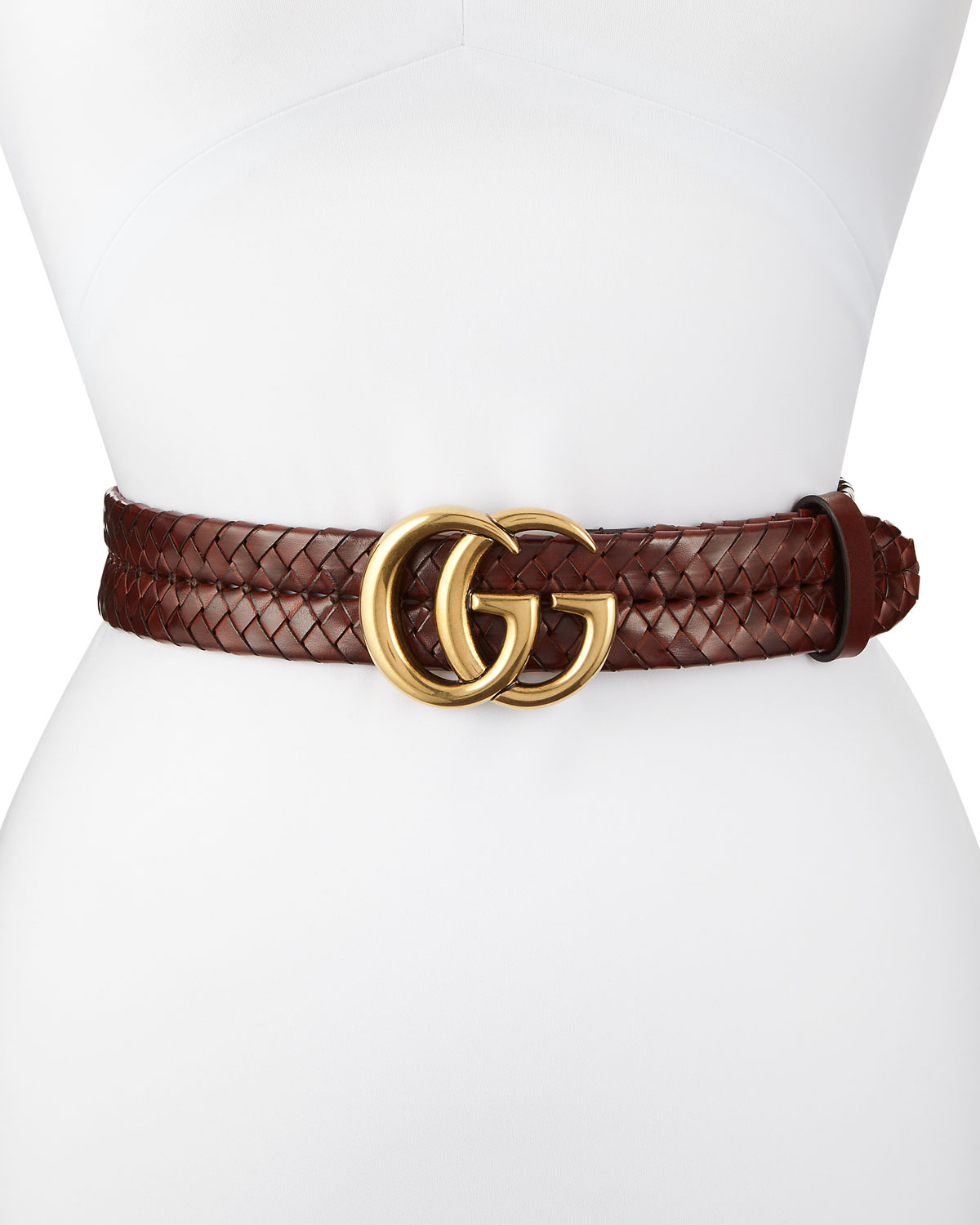 55ba05823ea Gucci Braided Leather Belt w  Double-G Buckle