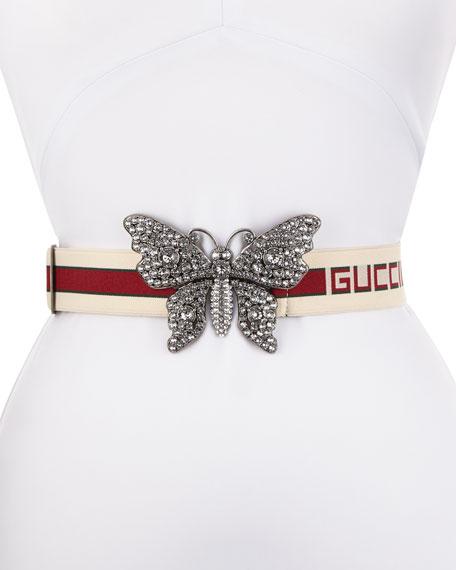 Elastic Striped Belt w/ Crystal Butterfly Buckle
