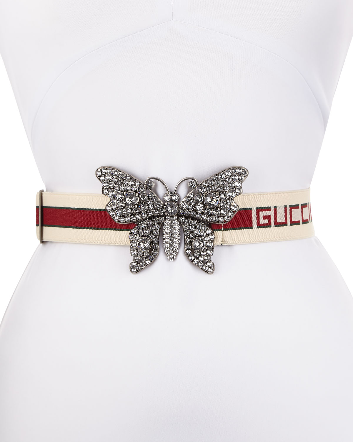 0b519c21bf3 Gucci Elastic Striped Belt w  Crystal Butterfly Buckle