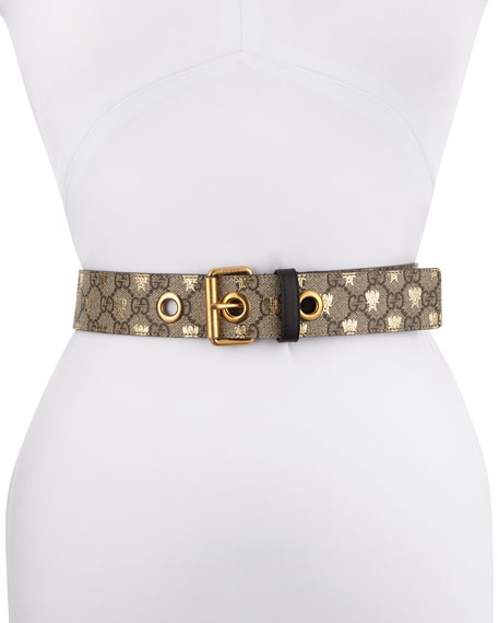 Gucci Formal Squared GG Supreme Canvas Bee Belt