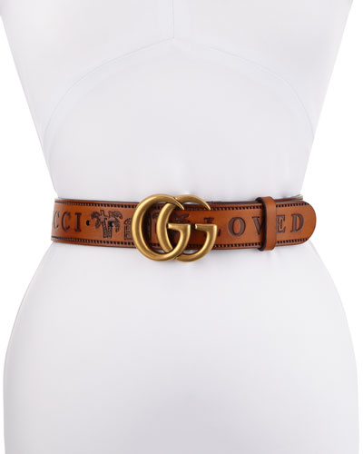 Gucci Loved Wide Leather Belt w/ Double GG Buckle