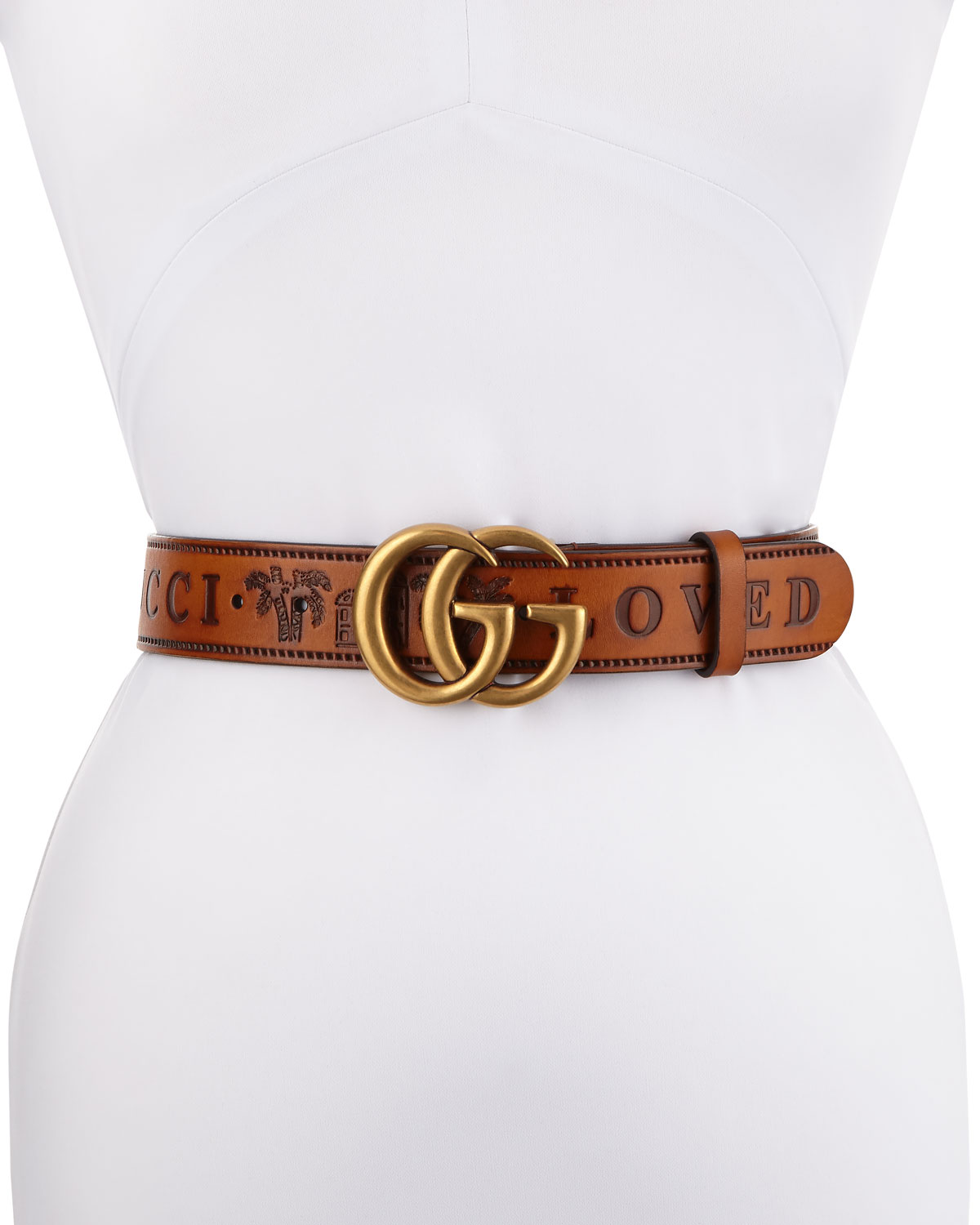 c509a07f5 Gucci Gucci Loved Wide Leather Belt w/ Double GG Buckle   Neiman Marcus