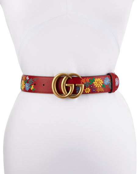 GG Marmont Flower-Embroidered Belt