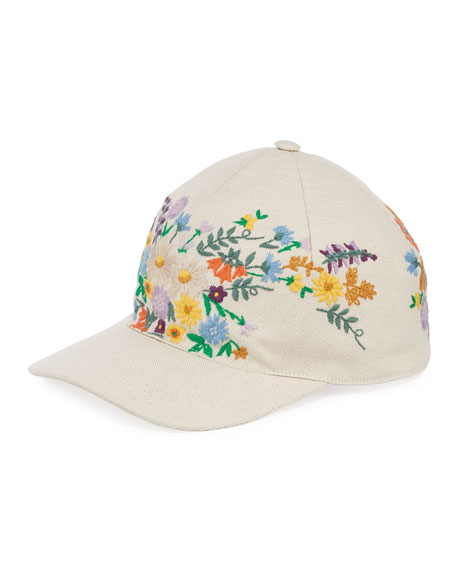 Gucci Canvas Baseball Hat w/ Floral Embroidery