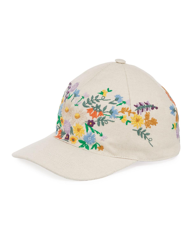 Gucci Canvas Baseball Hat w  Floral Embroidery  d75b625e988b