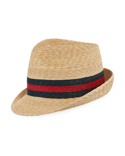 Woven Straw Trilby Hat w/ Wed Detail