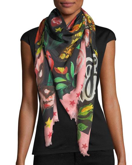 Gucci Garden Silk Fringe Shawl