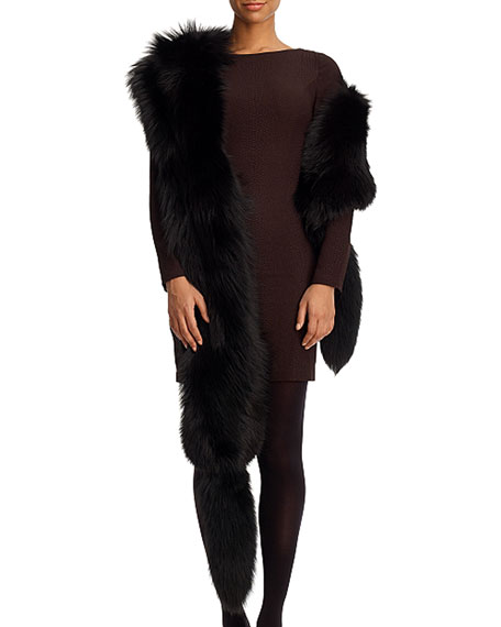 Gorski Fox Fur Boa with Detachable Tails, Black