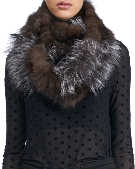 Fox & Sable Fur Infinity Knit Scarf