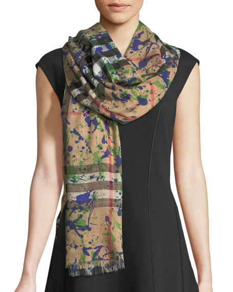 Silk Gauze Paint-Splash Scarf