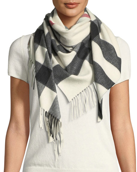 Burberry Cashmere Checkered Fringe Bandana Scarf
