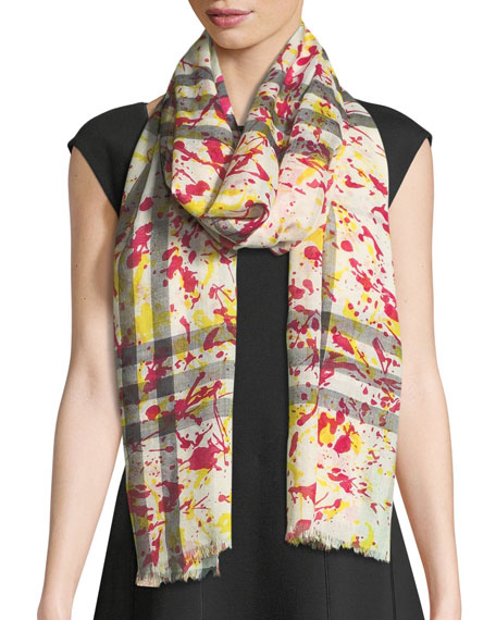 Burberry Silk Gauze Paint-Splash Scarf