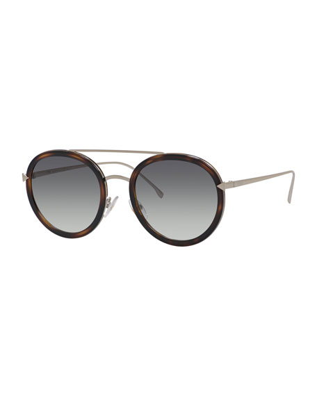 Trimmed Round Mirrored Sunglasses