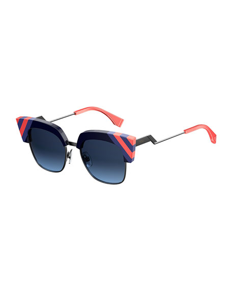 Fendi Semi-Rimless Squared Cat-Eye Sunglasses