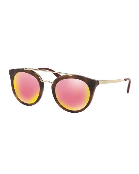 Prada Iridescent Cat-Eye Double-Bridge Sunglasses
