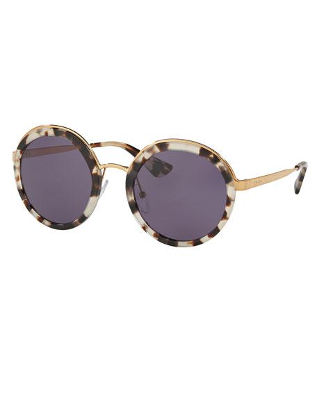 Prada Trimmed Monochromatic Round Sunglasses