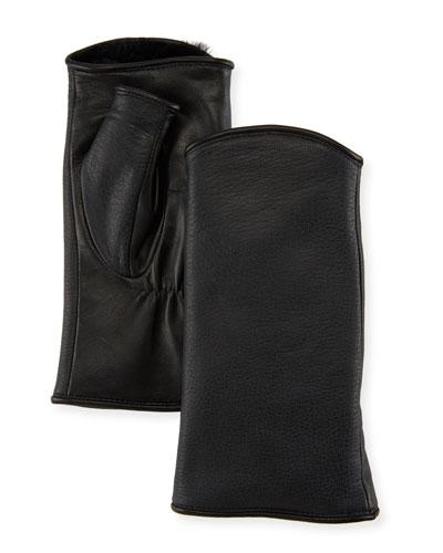 Pauline Floral Leather Fingerless Gloves