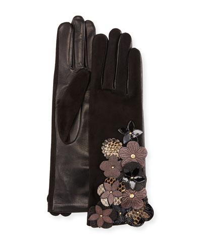 Leather & Suede Gloves w/ Flower Details