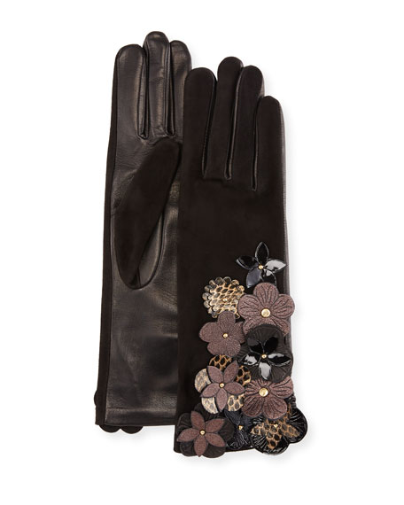 Agnelle Leather & Suede Gloves w/ Flower Details