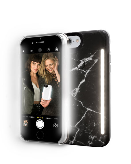 LUMEE LIMITED EDITION IPHONE 8 PHOTO-LIGHTING DUO CASE, BLACK MARBLE