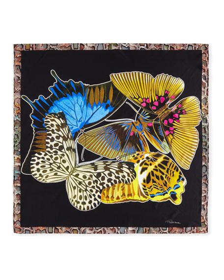 Mariposa Foulard Silk Woven Scarf, Black