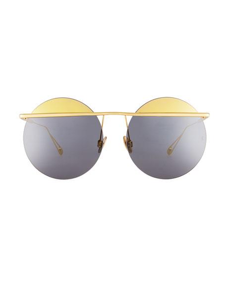 Minguu Rimless Round Metal Sunglasses