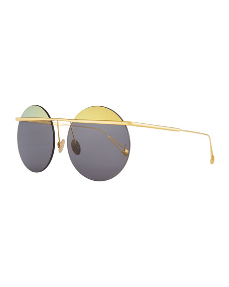 Sunday Somewhere Minguu Rimless Round Metal Sunglasses