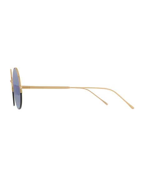 Raine Round Metal Semi-Rimless Sunglasses