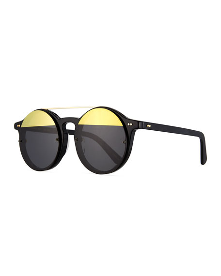 Matahari Dua Round Acetate & Metal Sunglasses