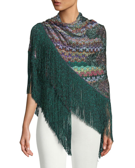 Flower Knit Shawl w/ Long Fringe