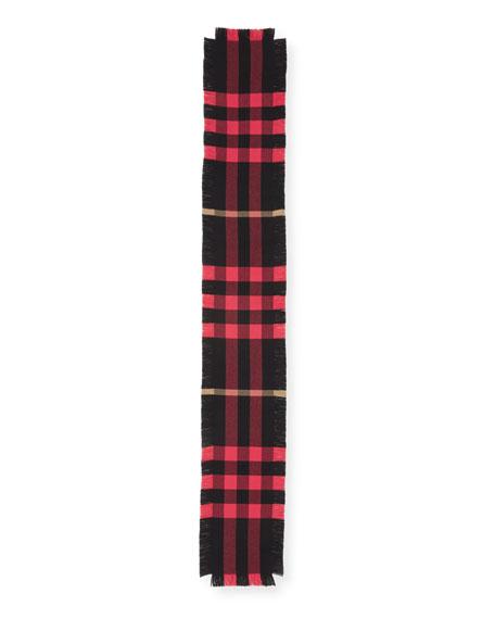 Half Mega Check Fashion Fringe Wool Scarf, Coral