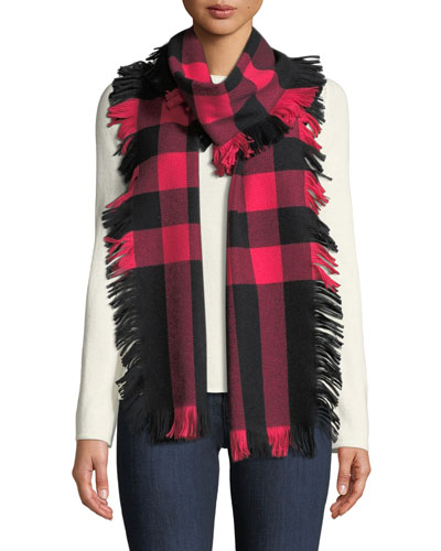 Half Mega Check Fashion Fringe Wool Scarf, Coral