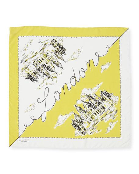 Silk London Landscape Scarf, Bright Yellow